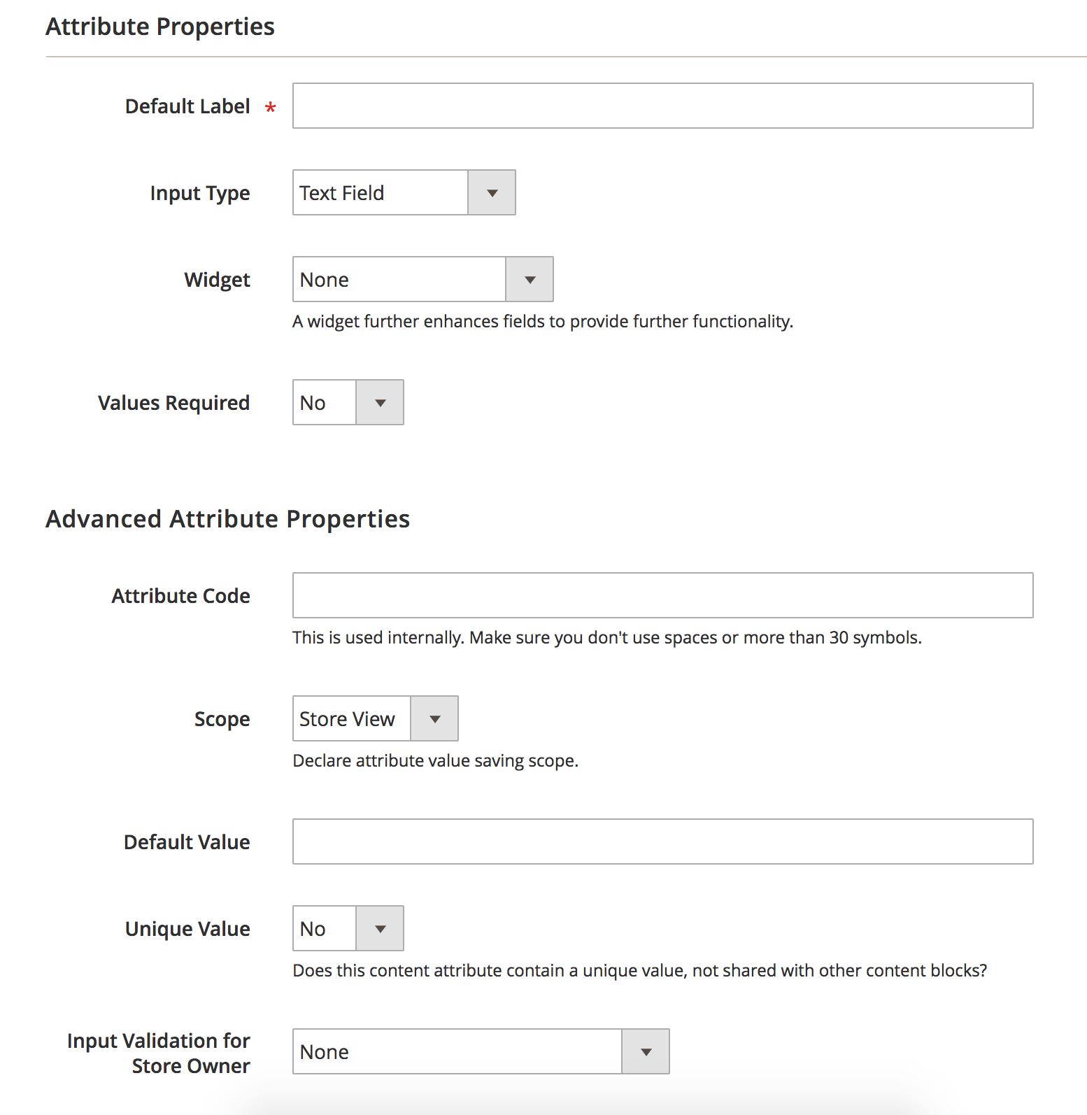 Create Attribute BlueFoot Admin